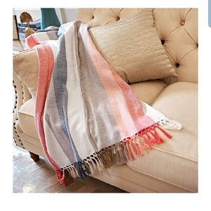 Other - Decorative Throw Red Stripe 100% Cotton Blanket